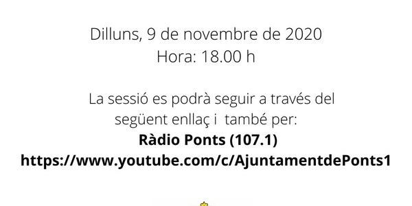 PLE EXTRAORDINARI - Dilluns 9 de Novembre a les 18:00