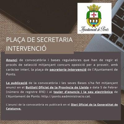 Anuncia convocatòria de  plaça de secretaria intervenció Ajuntament de Ponts