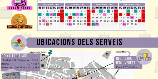 CALENDARI I UBICACIONS DELS SERVEIS DE RECOLLIDA DE RESIDUS AL NUCLI DE PONTS
