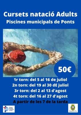 CURSETS NATACIÓ ADULTS - PISCINES MUNICIPALS DE PONTS-