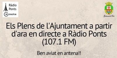 Els plens de L'Ajuntament retransmesos en directe per Ràdio Ponts