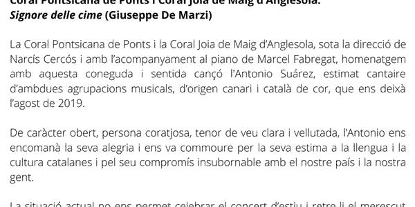 HOMENATGE ANTONIO SUÁREZ CORAL PONTSICANA I CORAL JOIA DE MAIG