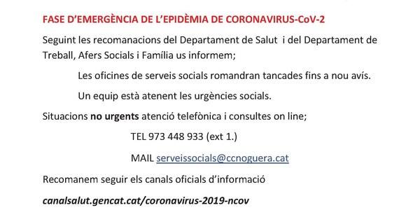 Les oficines de Serveis Socials romandran tancades fins a nou avís