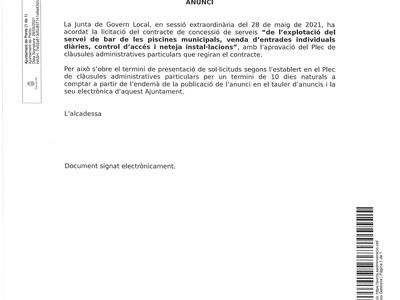 LICITACIÓ DE CONCESSIÓ DE L'EXPLOTACIÓ DEL SERVEI DE BAR DE LES PISCINES MUNICIPALS, VENDA D'ENTRADES INDIVIDUALS DIÀRIES, CONTROL D'ACCÉS I NETEJA INSTAL.LCIONS