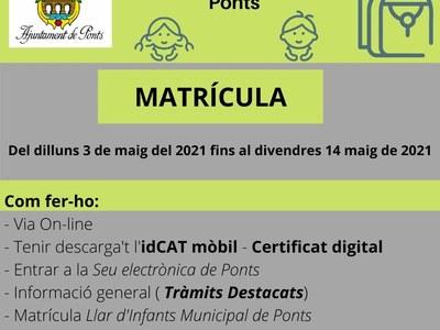 MATRÍCULA LLAR D'INFANTS MUNICIPAL DE PONTS