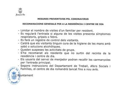 Mesures preventives per Coronavirus - Recomanacions generals per a la Residència i Centre de dia