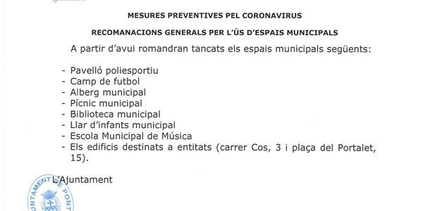 Mesures preventives per Coronavirus - Recomanacions generals per l'us d'espais municipals