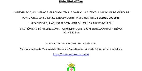NOTA INFORMATIVA ESCOLA DE MUNICIPAL DE MÚSICA DE PONTS