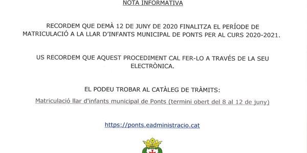 NOTA INFORMATIVA LLAR D'INFANTS MUNICIPAL DE PONTS!!!