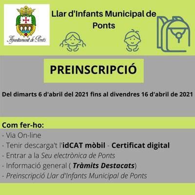 PREINSCRIPCIÓ LLAR D'INFANTS MUNICIPAL DE PONTS
