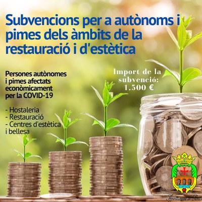 Subvencions per a autònoms i pimes dels àmbits de la restauració i d'estètica