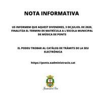 ÚLTIMS DIES DE MATRÍCULA ESCOLA MUNICIPAL DE MÚSICA DE PONTS