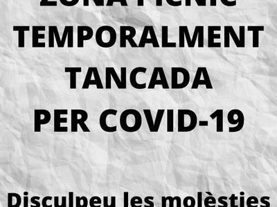 ZONA PÍCNIC TEMPORALMENT TANCADA PER COVID-19